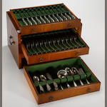 A sterling flatware set, with wooden case Wallace Silversmiths, Wallingford, CT <BR />Sir Christopher  (82)