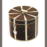 A George III style circular tortoiseshell and bone tea caddy late 20th century