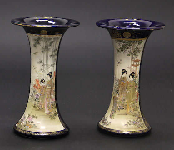 A pair of Japanese earthenware vases  Meiji/Taisho period