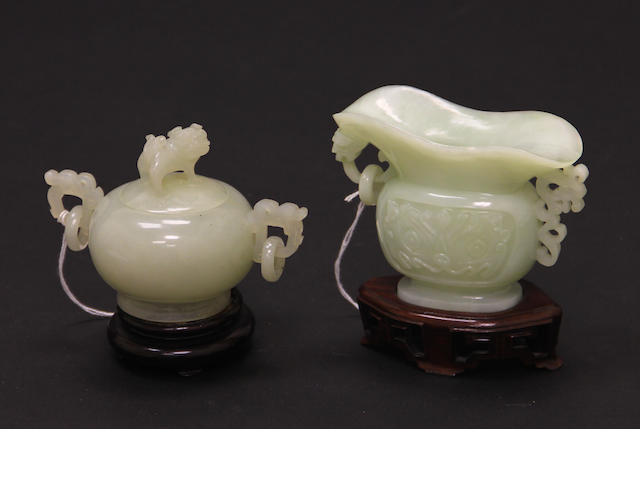 Two carved jade archaistic vessels