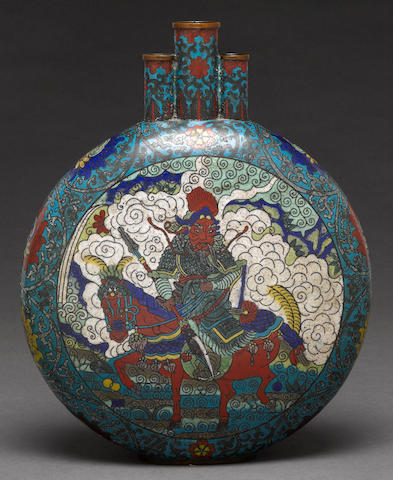 A cloisonne enameled metal moon flask with figural decoration late Qing/Republic Period