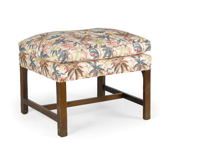 A George III mahogany upholstered bench fourth quarter 18th century