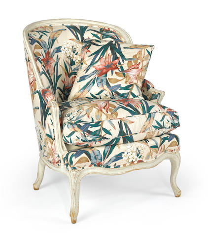A Louis XV style painted bergere en cabriolet