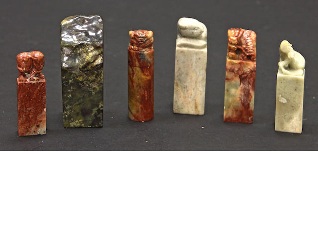 A group of six hardstone seals