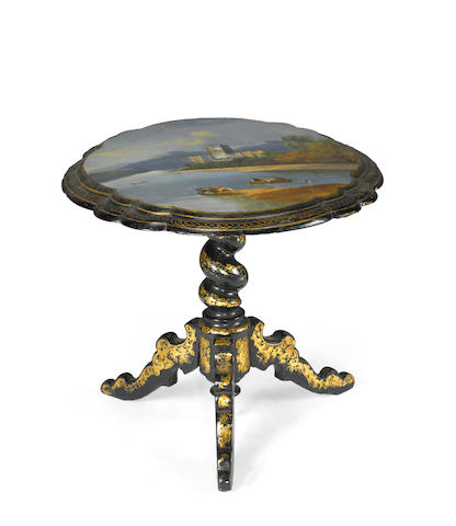 A Victorian parcel gilt, ebonized, painted and shell inlaid papier mache side table