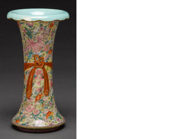A famille rose gu form vase with mille fleur decoration Qianlong mark late Qing dynasty