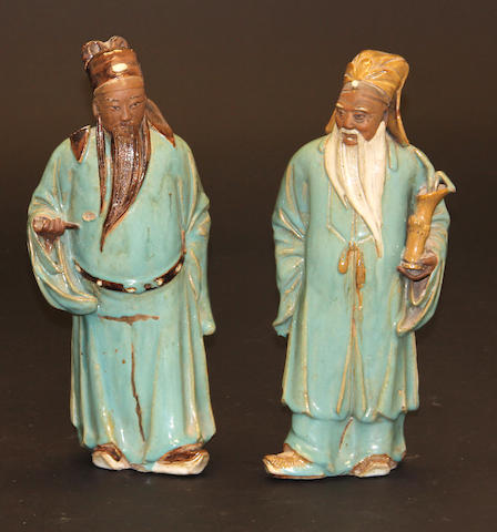 Two Shiwan glazed stoneware figures of Immortals