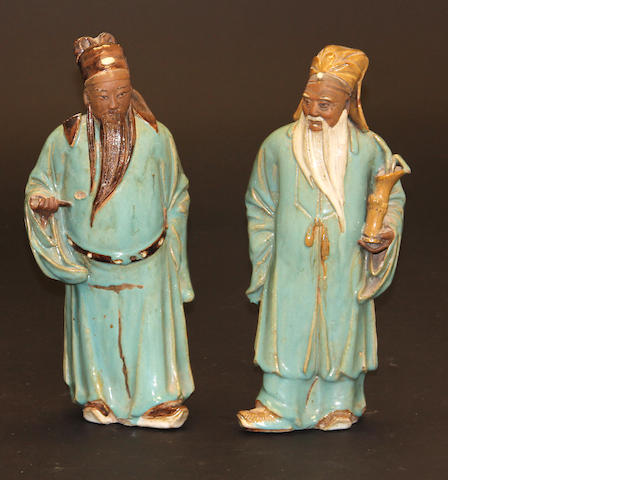 Two Shiwan glazed figures of standing sages