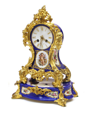 A Napoleon III Sevres style porcelain gilt bronze mounted mantel clock on stand Lenoir a Paris