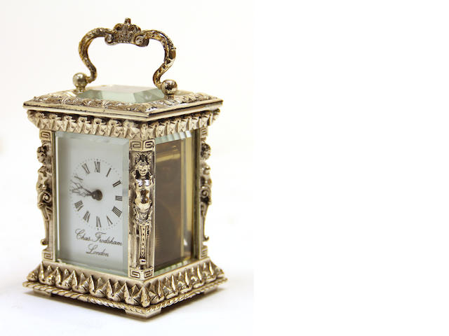 A English silver cased miniature carriage clock  Charles Frodsham, London
