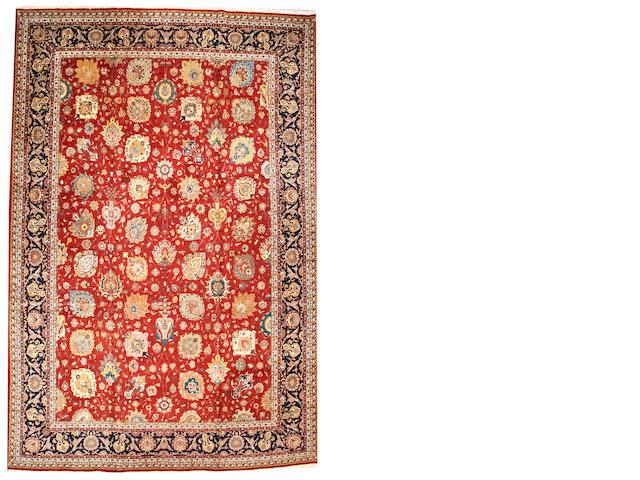 A Tabriz carpet Northwest Persia size approximatly 12ft. 7in. x 18ft. 10in.