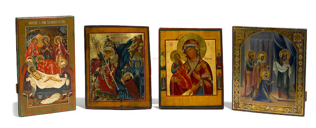 An assembled group of eight Russian icons