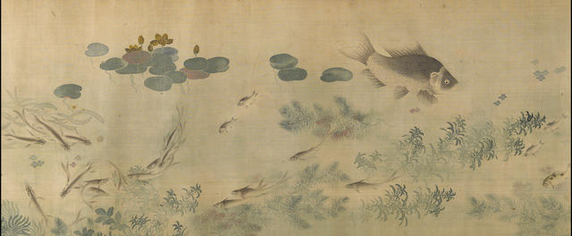 Zu Shihong (19th century), Fishes and watergrass, ink and color on silk, horizontal scroll