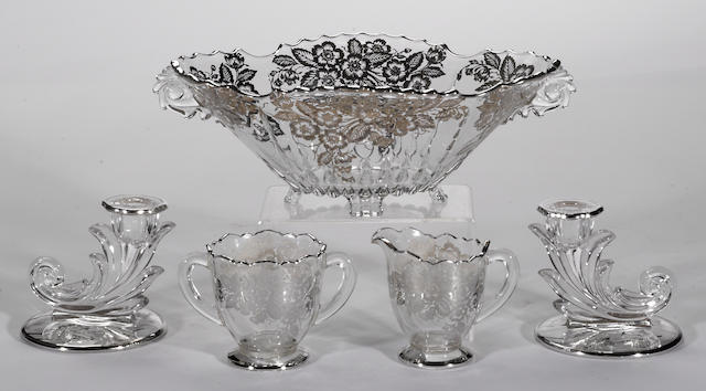 A group of silver deposit on glass table articles  (5)