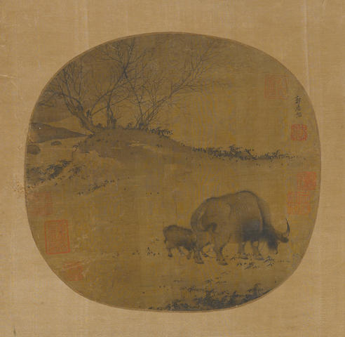 Anonymous (14th/15th century) Buffalo and Calf, round fan, ink on silk, mounted