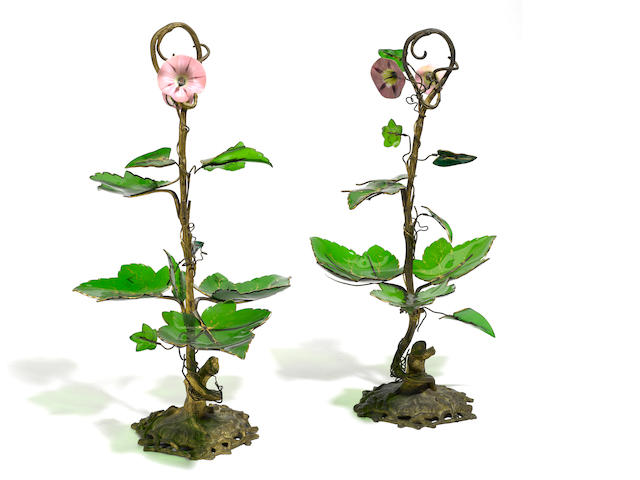 A pair of French gilt bronze and colored glass centerpieces