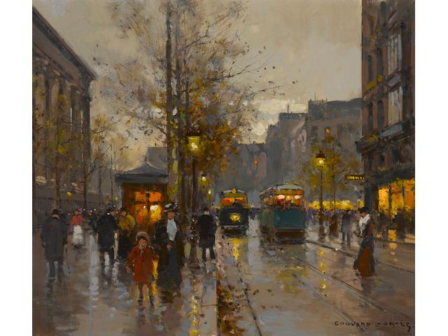 Edouard Léon Cortès (French, 1882-1969) A Paris street scene