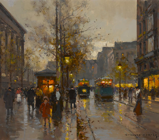 Edouard Léon Cortès (French, 1882-1969) La Place de la Madeleine 18 1/4 x 21 1/4in (46.3 x 54cm)