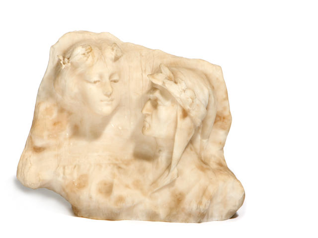 An Italian alabaster sculpture of Dante and Beatrix