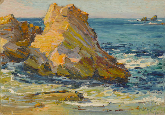 Anna Althea Hills (American, 1882-1930) Winter sunshine, Laguna Beach rocks over Dog's Head Point Winter sunshine, Laguna Beach rocks over Dog's Head Point, 1921 7 x 10in unframed