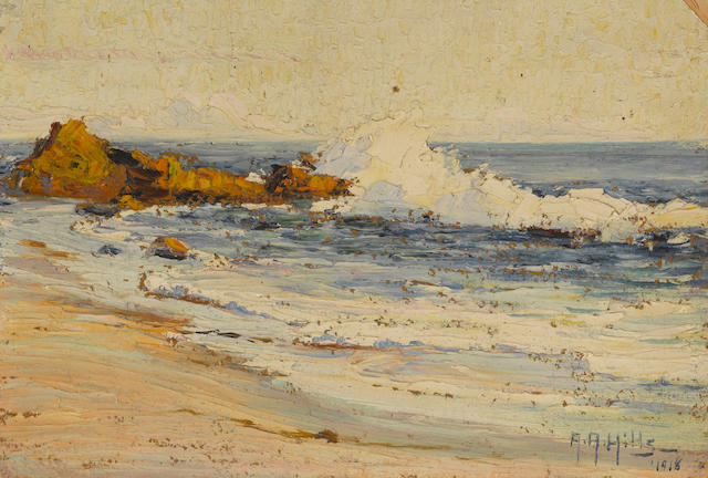 Anna Althea Hills (American, 1882-1930) A song of the sea, Laguna Beach, 1918 7 x 10in unframed