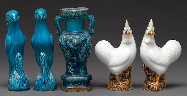 A group of five ceramic decorative objects