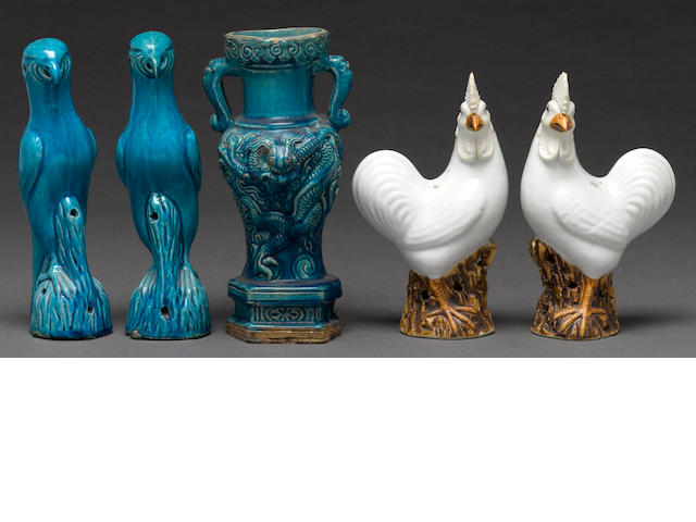 A group of five Chinese porcelains
