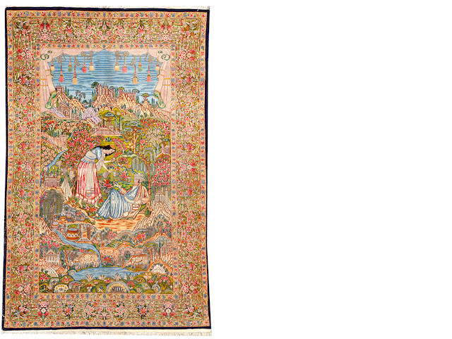 A Kerman rug South Central Persia size approximately 5ft. 3in. x 8ft. 3in.