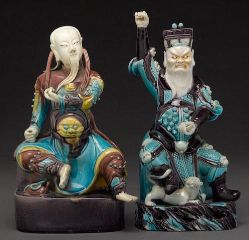 A group of two Chinese Fahua ceramic figure of temple guardians mid 19th century