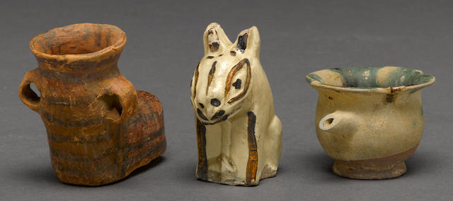 An assembled group of three early ceramics