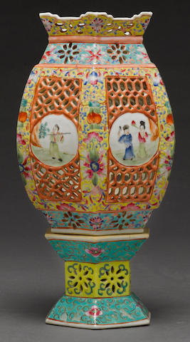 A polychrome enameled reticulated porcelain wedding lamp Republic period