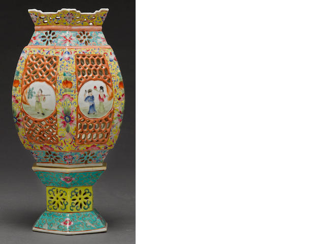 "A polychrome enameled porcelain ""wedding lamp"" wired for electricity late Qing/Republic period"