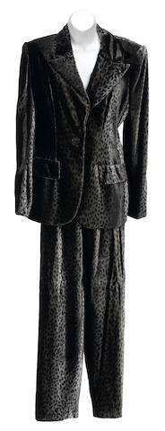 A Bill Blass grey and brown cheetah print velvet jacket and pant suit