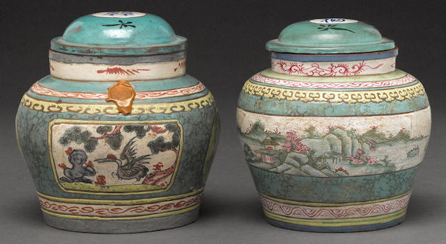Two polychrome enameled yixing pottery ginger jars