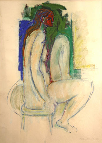 Hans Gustav Burkhardt (American, 1904-1994) Seated nude in profile, 1971 20 x 26in