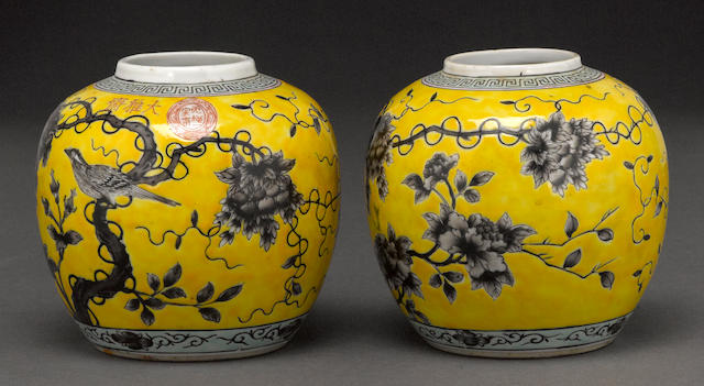 A pair of dayazhai yellow glazed ginger jars late Qing/Republic period