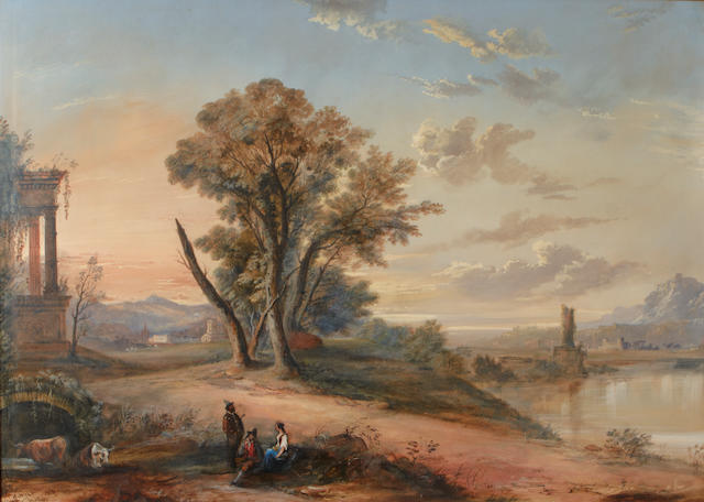 A. Wilson, 19th Century An Italian landscape with ruins and figures seated by a lake; together with a painting attributed to the same hand (a pair) each 26 x 37in