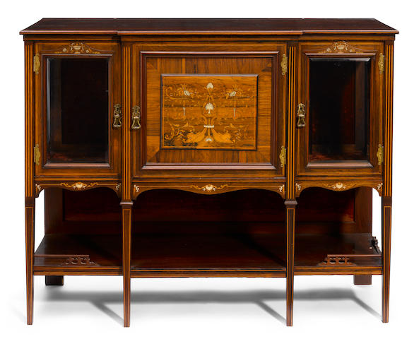 A late Victorian marquetry inlaid rosewood side cabinet  fourth quarter 19th century