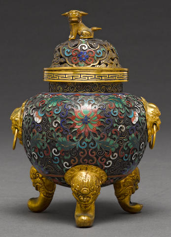 A cloisonné and champlevé enameled tripod censer 20th century
