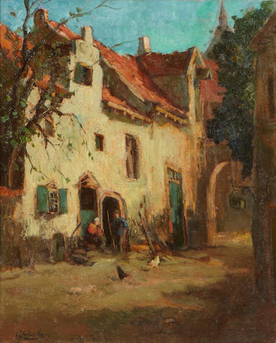 Attributed to Cornelius Verschuur A country house 24 x 20in