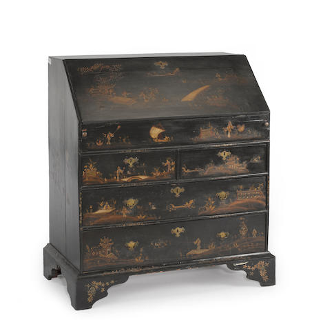 A George I chinoiserie decorated slant front desk<BR />first quarter 18th century
