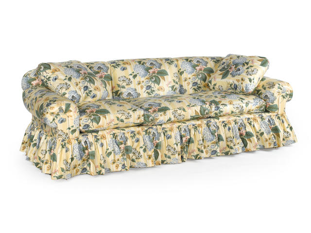 A contemporary upholstered sofa