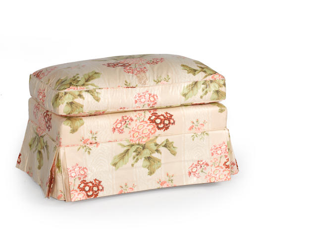 A contemporary chintz upholstered bench