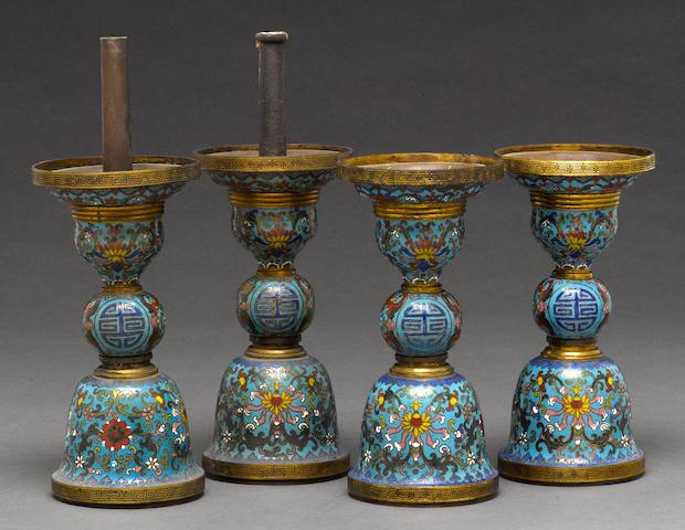 Four Chinese cloisonne enamel gu form vases