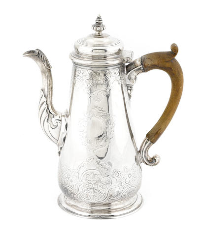 A George II sterling silver coffee pot Thomas Whipham & William Williams, London, 1740