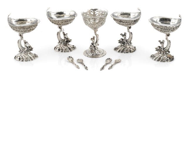A set of four German cast-silver figural pedestal salt cellars Probably Hanau, late 19th / early 20th century