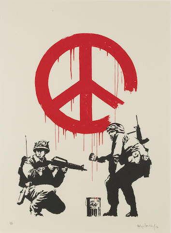 Banksy (b. 1975) CND Soldiers 2005  signed, dated 05 and numbered 312/350  screenprint on paper  27 9/16 by 19 11/16 in. 70 by 50 cm.