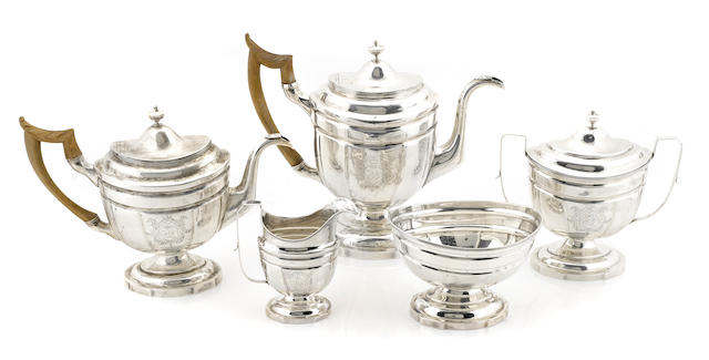 An American Federal coin silver assembled five piece tea and coffee service Charles Alexander Burnett, Georgetown / Washington, D.C., and George Armitage, Philadelphia, PA, Late 18th / early 19th century