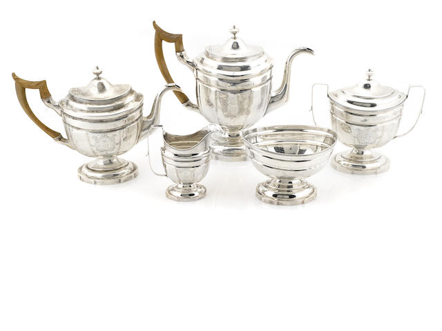 An American Federal coin silver assembled tea and coffee service