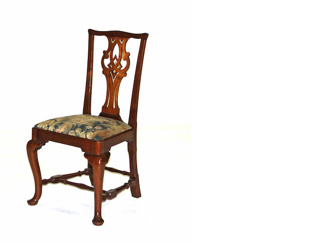 An American or English walnut side chair together with a George III oak side chair 18th century